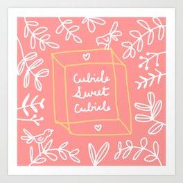 Cubicle Sweet Cubicle – Pink, White, Yellow Art Print
