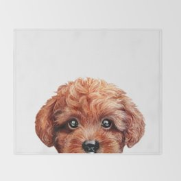 Toy poodle red brown Dog illustration original painting print Throw Blanket