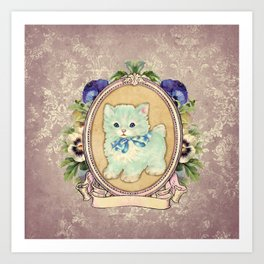 Kitschy Blue Kitten Art Print