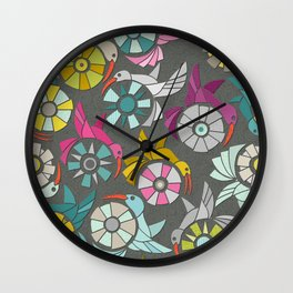 paper sunbirds graphite Wall Clock