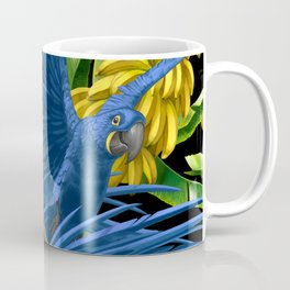Hyacinth Macaws and bananas Stravaganza (black background). Coffee Mug