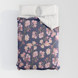 Cherry Blossom Pattern on Navy Comforters