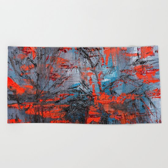 Red Forest Beach Towel