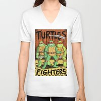 turtles V-neck T-shirts featuring TURTLES FIGHTERS by Jack Teagle
