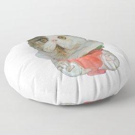Kitten with Fruit Smoothie Floor Pillow