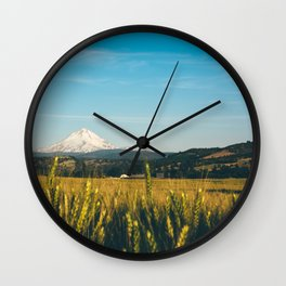Golden Grain Fields Overlooking Cascade Mountains Wall Clock