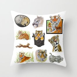 Big Cat Sticker Pack 1 Throw Pillow