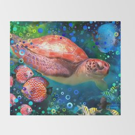 Sea Turtle In Blue Water Throw Blanket