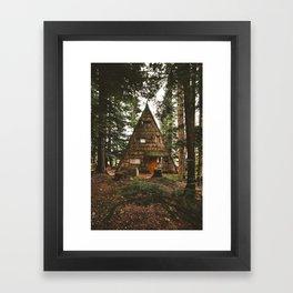 A-Frame Cabin in the Woods Framed Art Print