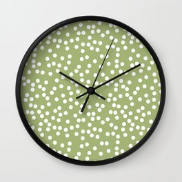 Leaf Green and White Polka Dot Pattern Wall Clock