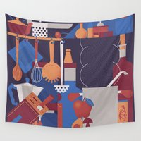kitchen Wall Tapestries featuring The Kitchen by Andrea Manzati