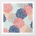 Floral Bloom Print, Living Coral, Pale Aqua Blue, Gray, Navy by meganmorrisart