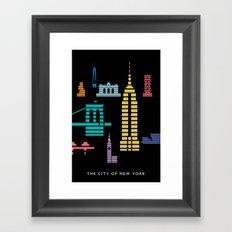 New York Skyline Empire State Poster Black Framed Art Print