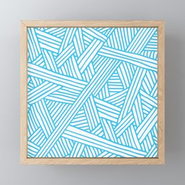 Abstract Teal & white Lines and Triangles Pattern - Mix and Match with Simplicity of Life Framed Mini Art Print