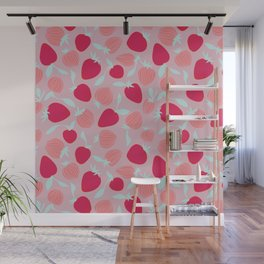 Strawberry pattern on pink background, tutti fruti trend Wall Mural