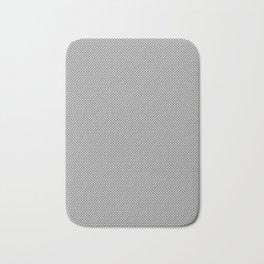 White and Gray Basket Weave, Mesh Line Pattern Bath Mat