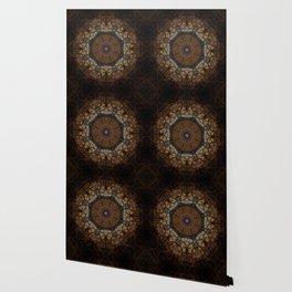 Rich Brown and Gold Textured Mandala Art Wallpaper