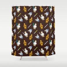 R2D2+3CPO+Luke in Brown Shower Curtain