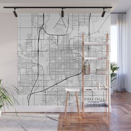 Sioux Falls Map, USA - Black and White Wall Mural