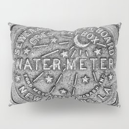 New Orleans Water Meter Louisiana Crescent City NOLA Water Board Metalwork Grey Silver Pillow Sham