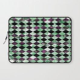 Diamond Pattern In Green, Black And Purple Laptop Sleeve