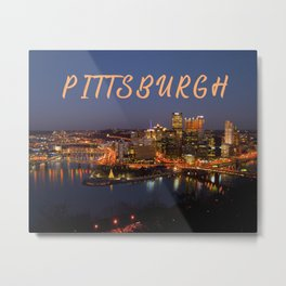 Pittsburgh, Pennsylvania Downtown Night Time River with Bridges Metal Print