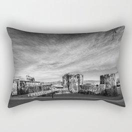 Caerphilly Castle Panorama Monochrome Rectangular Pillow