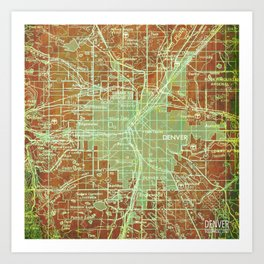 Denver Colorado map, year 1958, orange and green artwork Art Print