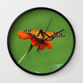 Butterfly on Orange Color Flower Wall Clock