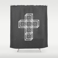 cross Shower Curtains featuring Cross by Dizzy Moments