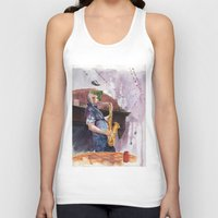 saxophone Tank Tops featuring Playing saxophone by aurora villaviejas