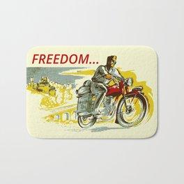 Retro vintage style FREEDOM motorcycle Bath Mat