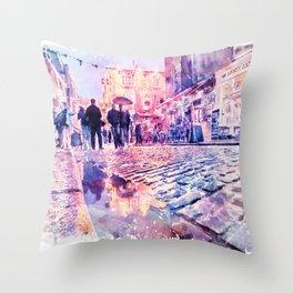 Dublin Watercolor Streetscape Throw Pillow