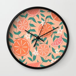 Floral Citrus in Pink Wall Clock