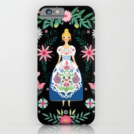 Folk Art Forest Fairy Tale Fraulein iPhone Case