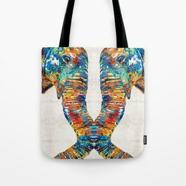 Colorful Elephant Art by Sharon Cummings Tote Bag