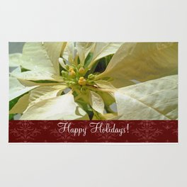 Pale Yellow Poinsettia 1 Happy Holidays S5F1 Rug