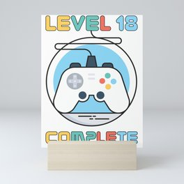 Gamer Geek Level 18 Complete Game Controller Mini Art Print