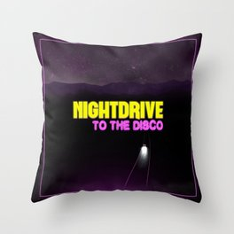 Nightdrive to the disco Throw Pillow