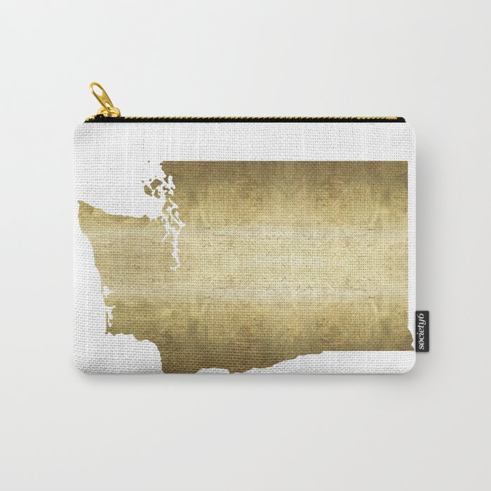 washington state gold foil map Carry-All Pouch