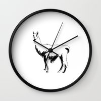 llama Wall Clocks featuring Llama by George Williams
