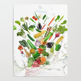 Healthy Food with water splash on white background Poster