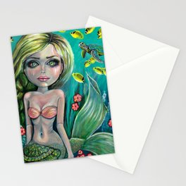 Turtle Love Mermaid Art by Laurie  Leigh Stationery Cards