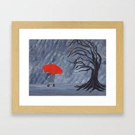 Orange Umbrella Framed Art Print