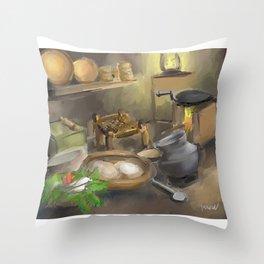 Punjabi village kitchen Throw Pillow