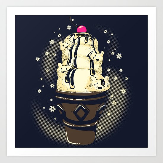 Ice Cream Bears (Dark Blue) Art Print