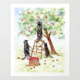 Cute Raccoons in the Orchard Art Print