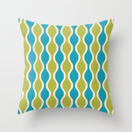 Classic Retro Ogee Pattern 852 Turquoise and Olive Throw Pillow