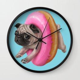 Donut Pug Wall Clock