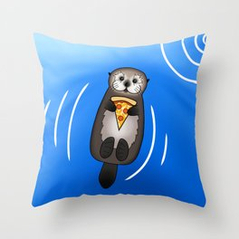 Sea Otter with Pizza Throw Pillow